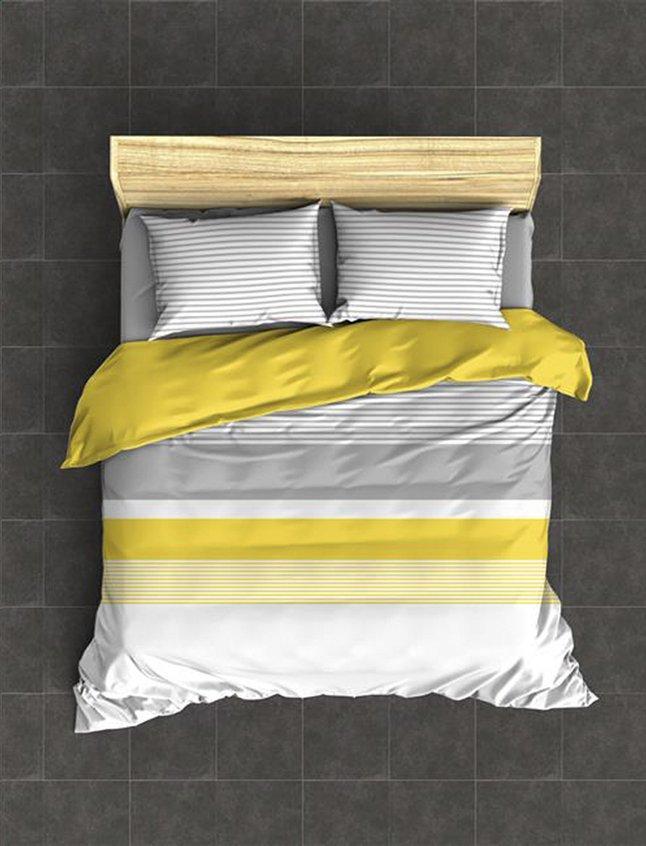 Image pour Housse de couette Sevilla jaune uni coton 240 x 220 cm à partir de ColliShop