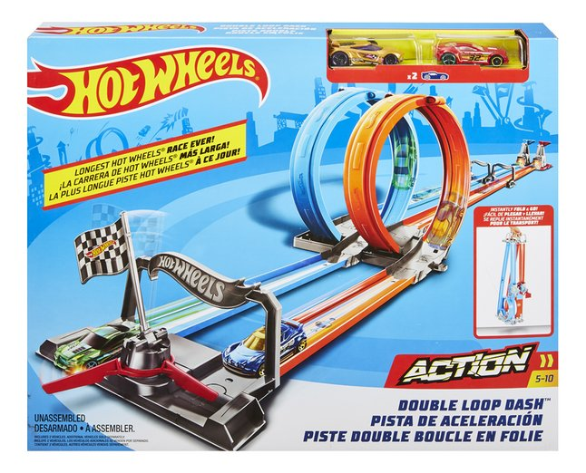 Afbeelding van Hot Wheels Action acrobatische racebaan Double Loop Dash from ColliShop