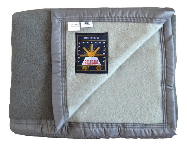 Sole Mio Couverture en laine 500 gris/gris clair