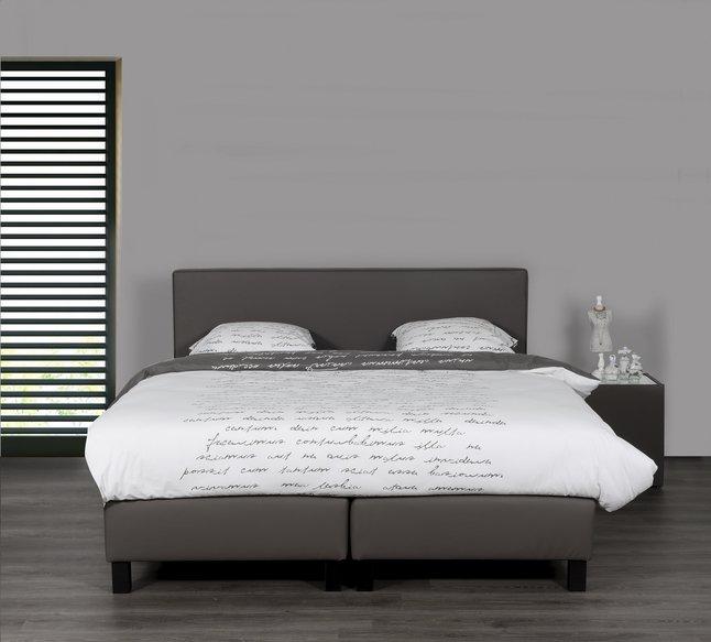 Image pour Boxspring fixe Winston aspect cuir taupe 180 x 200 cm à partir de ColliShop
