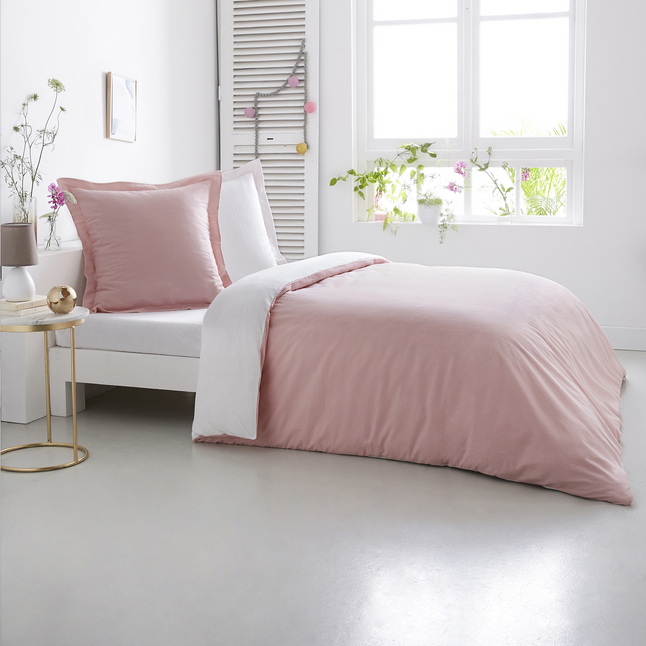 Afbeelding van Home lineN Dekbedovertrek Bicolore flanel roze/wit 200 x 200 cm from ColliShop