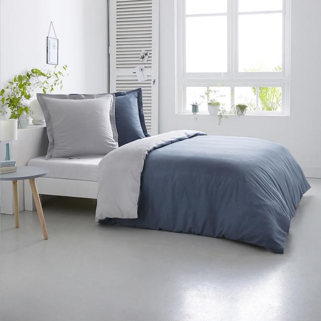 Home lineN Dekbedovertrek Bicolore flanel silver/denim 260 x 240 cm