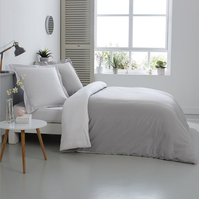 Image pour Home lineN Housse de couette Bicolore perle/blanc flanelle 200 x 200 cm à partir de ColliShop