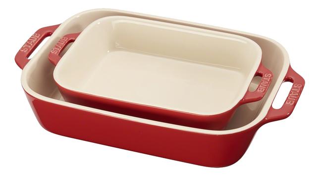 Staub 2 plats à four Ceramic 2 couches rouge cerise