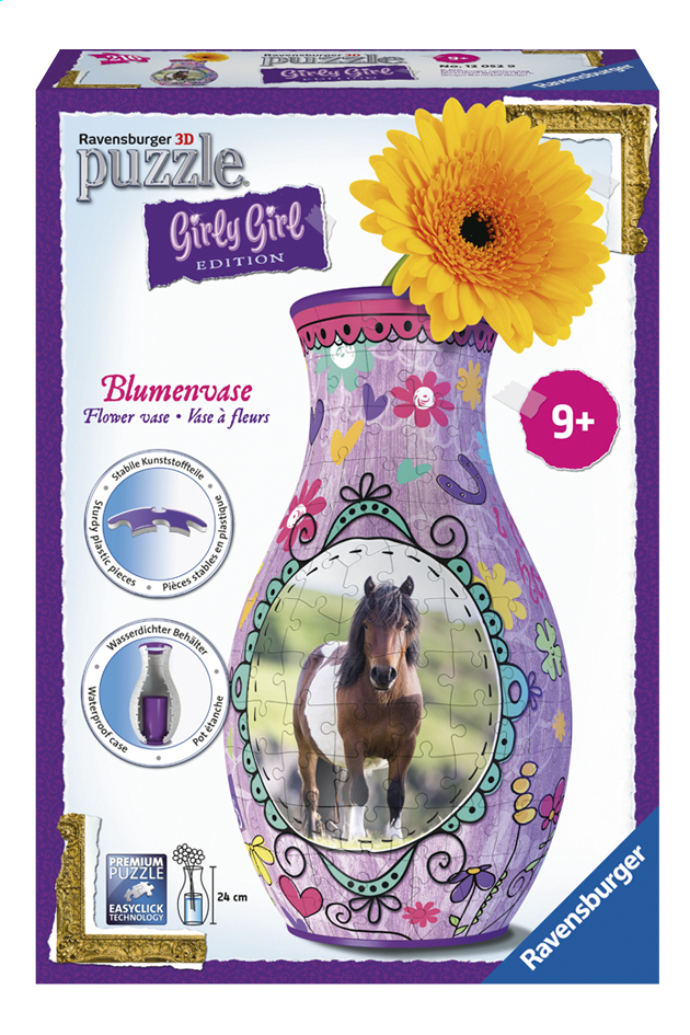 Afbeelding van Ravensburger 3D-puzzel Girly Girl bloemenvaas paarden from ColliShop
