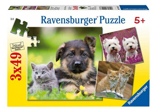 Image pour Ravensburger puzzle 3 en 1 Chiens et chats à partir de ColliShop