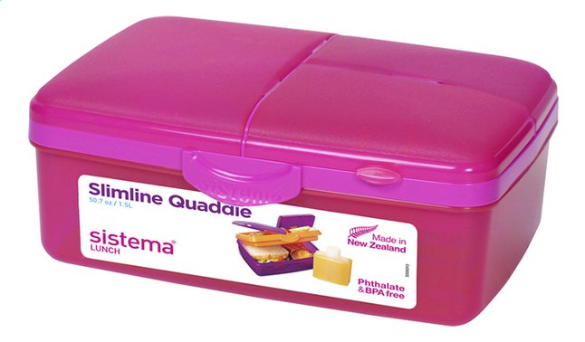 Afbeelding van Sistema lunchbox Slimline Quaddie roze from ColliShop