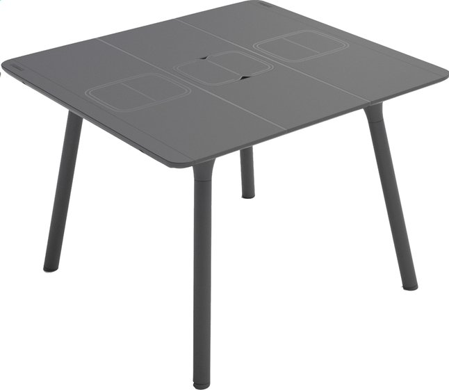 Grosfillex table de jardin connection anthracite 100 x 100 for Table de 100