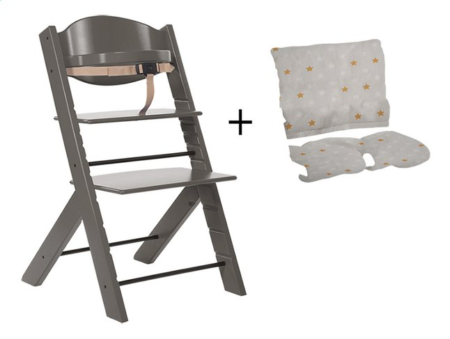 Treppy Chaise haute avec coussin réducteur gratuit gris