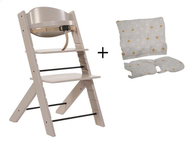 Treppy Chaise haute avec coussin réducteur gratuit taupe