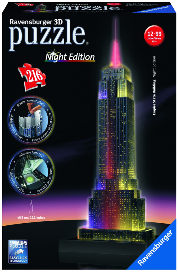 Image pour Ravensburger puzzle 3D Night Edition Empire State Building à partir de ColliShop