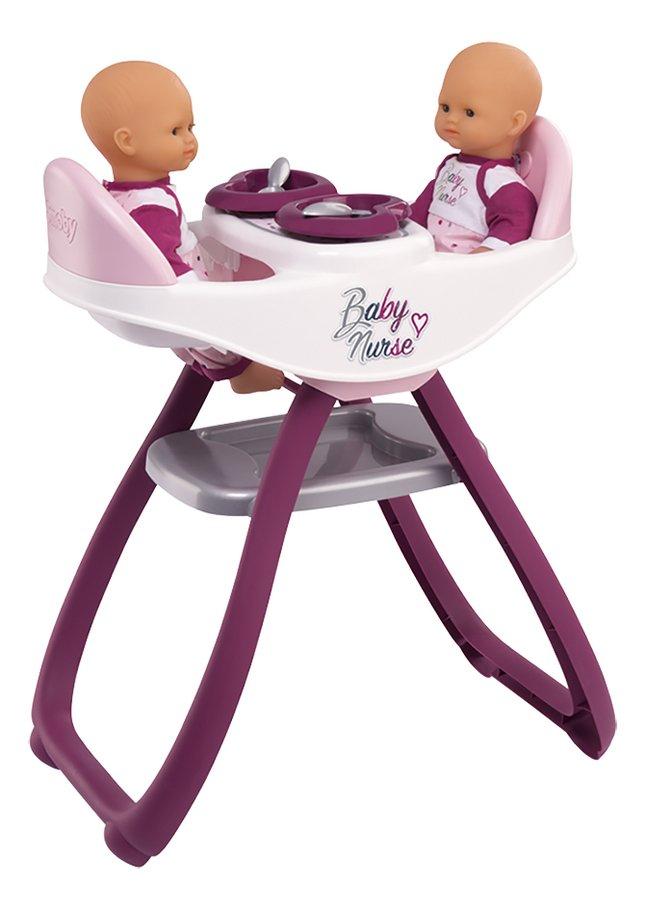 Smoby chaise haute jumeaux 2 en 1 Baby Nurse blanc