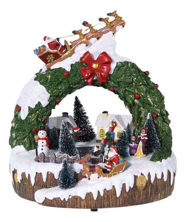 Afbeelding van Kersttafereel met led hulstkroon from ColliShop