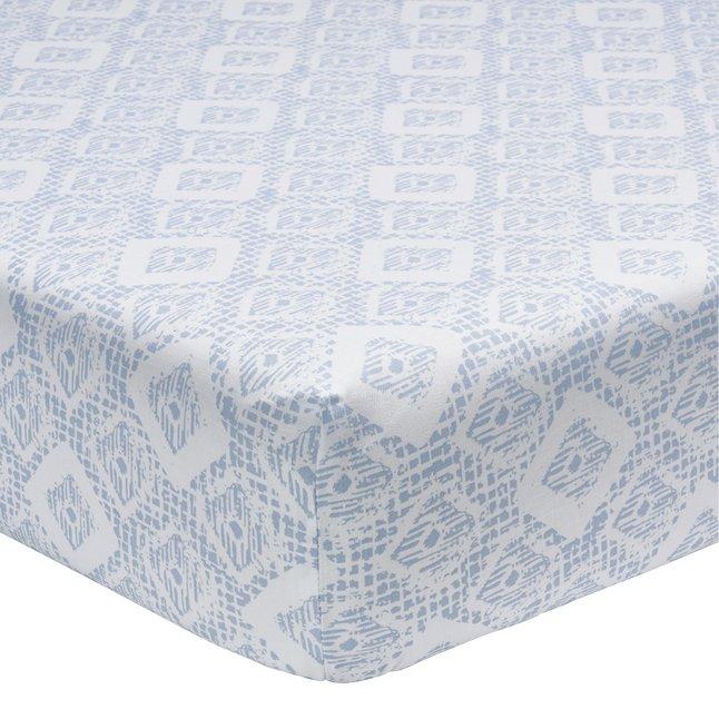 Image pour Origin Drap-housse Malo blanc/bleu lyocell/coton 180 x 200 cm à partir de ColliShop
