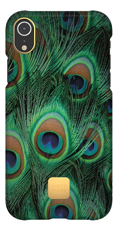 Happy Plugs cover voor iPhone Xr Peacock