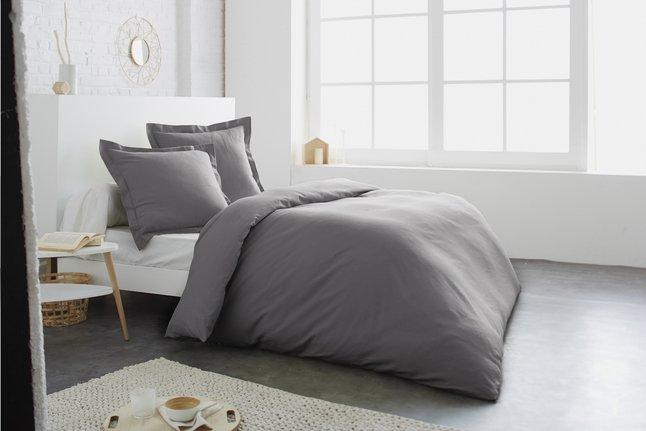 Image pour Home lineN Housse de couette Uni gris foncé coton 140 x 200 cm à partir de ColliShop