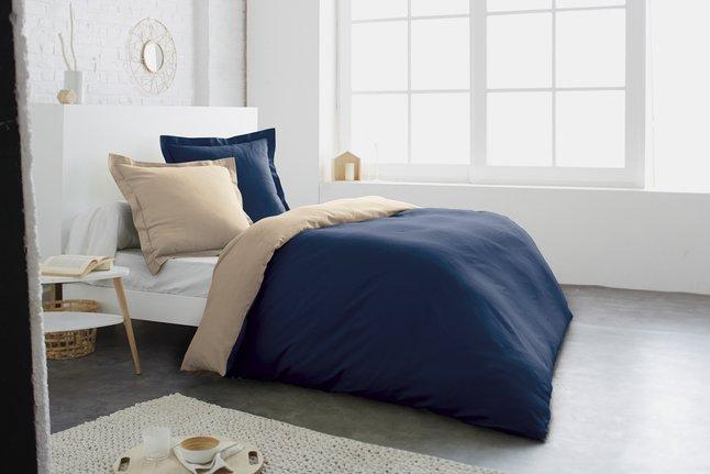 Afbeelding van Home lineN Dekbedovertrek bicolore blauw/taupe flanel 240 x 220 cm from ColliShop