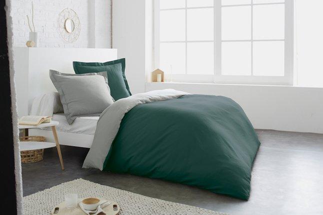 Home lineN Housse de couette bicolore flanelle vert/zinc