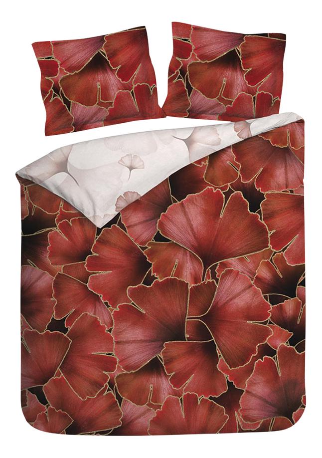 Heckett & Lane Housse de couette Daya Plum Red twill de coton