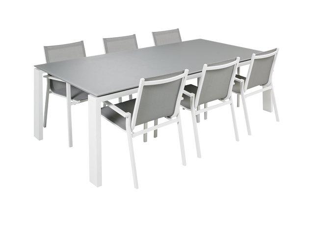 Image pour Jati & Kebon Ensemble de jardin Arolla/Forios avec verre gris clair/blanc à partir de ColliShop