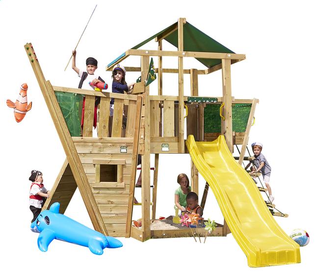 Afbeelding van Houten speeltoren De Hut met boot en gele glijbaan from ColliShop