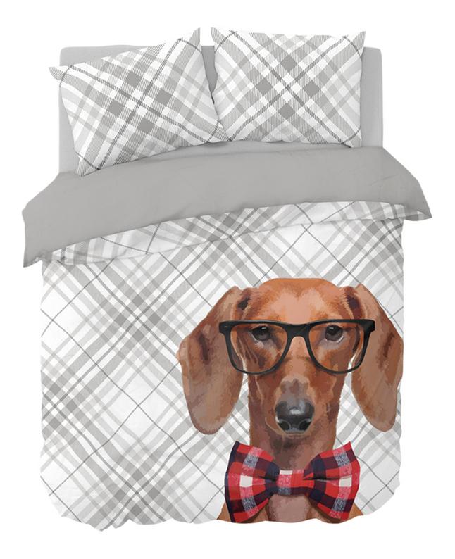 Nightlife Dekbedovertrek Dog Bowtie katoen/polyester