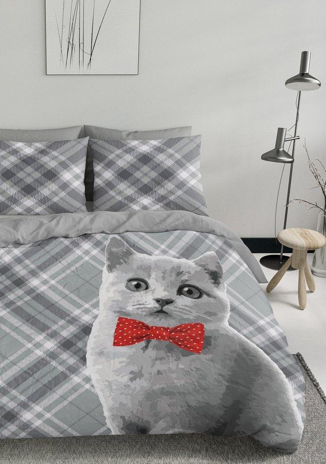 Afbeelding van Nightlife Dekbedovertrek Cat Bowtie katoen/polyester from ColliShop