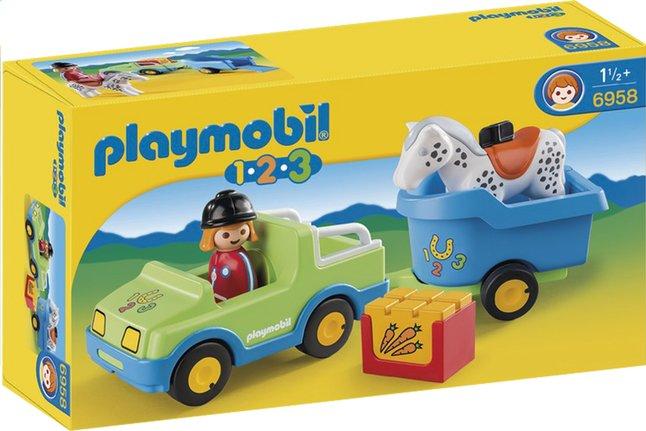 Image pour Playmobil 1.2.3 6958 Véhicule avec remorque à cheval à partir de ColliShop