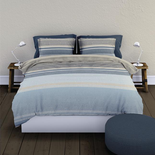Image pour Romanette Housse de couette Strato flanelle bleu 240 x 220 cm à partir de ColliShop
