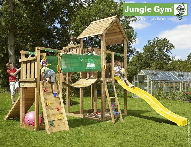 Afbeelding van Jungle Gym speeltoren Palace met brug en gele glijbaan from ColliShop
