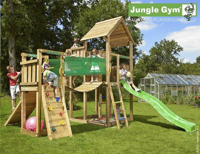 Afbeelding van Jungle Gym speeltoren Palace met brug en groene glijbaan from ColliShop
