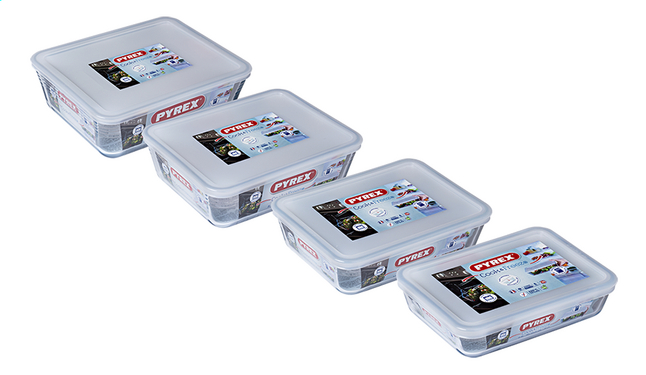 Pyrex 4 plats à four/boîtes de conservation rectangulaires Cook & Freeze