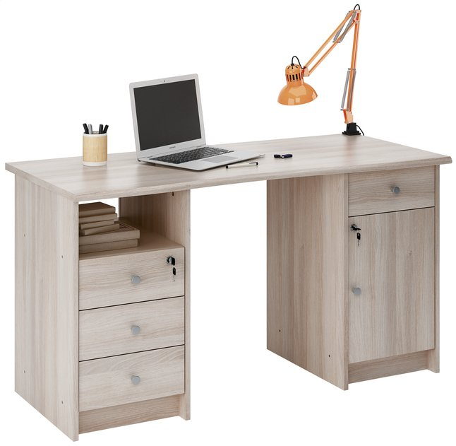 Demeyere meubles bureau monaco 135 cm eikdecor collishop for Bureau meuble pc gamer