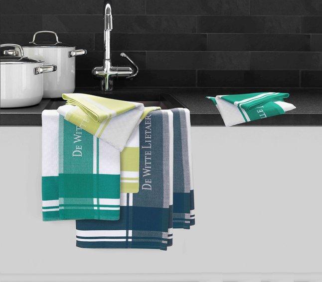 Afbeelding van De Witte Lietaer 6 keukenhanddoeken blauw/groen/sulphur 70 x 50 cm from ColliShop