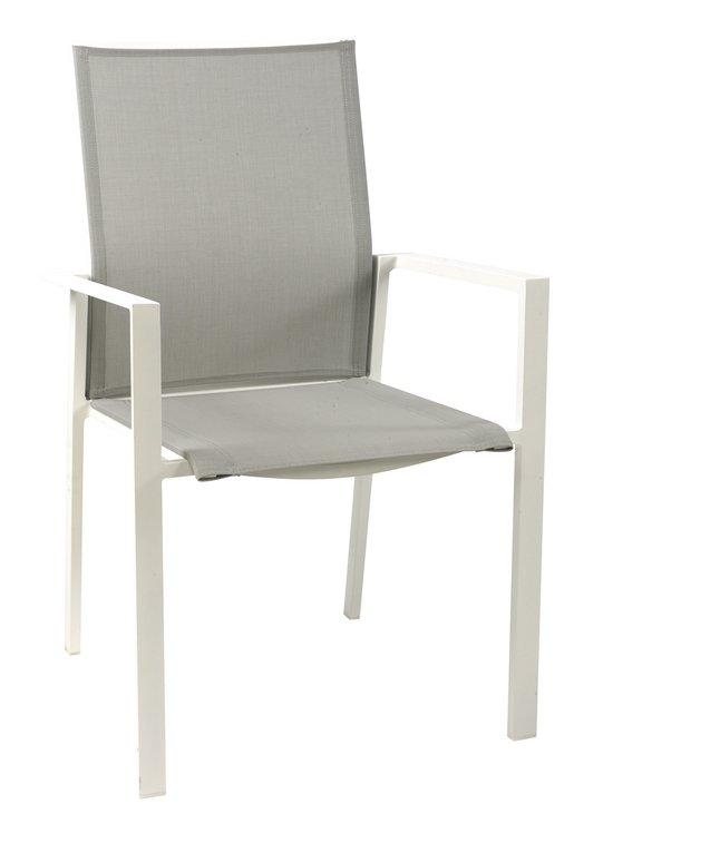 Jati kebon chaise de jardin calvin gris clair blanc for Chaise de calvin