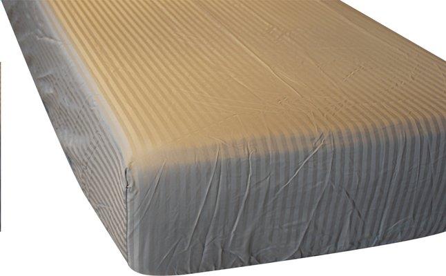 Image pour Sleepnight Drap-housse Satinada taupe satin de coton avec lignes verticales 160 x 200 cm à partir de ColliShop