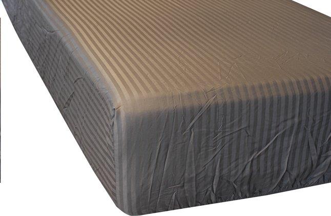 Sleepnight Drap-housse Satinada anthracite satin de coton avec lignes verticales 160 x 200 cm