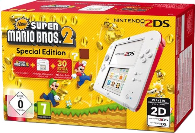 Afbeelding van Nintendo 2DS console wit/rood + New Super Mario Bros. 2 from ColliShop