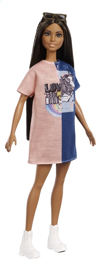 Afbeelding van Barbie mannequinpop Fashionistas Petite 103 - Tone Graphic Dress from ColliShop