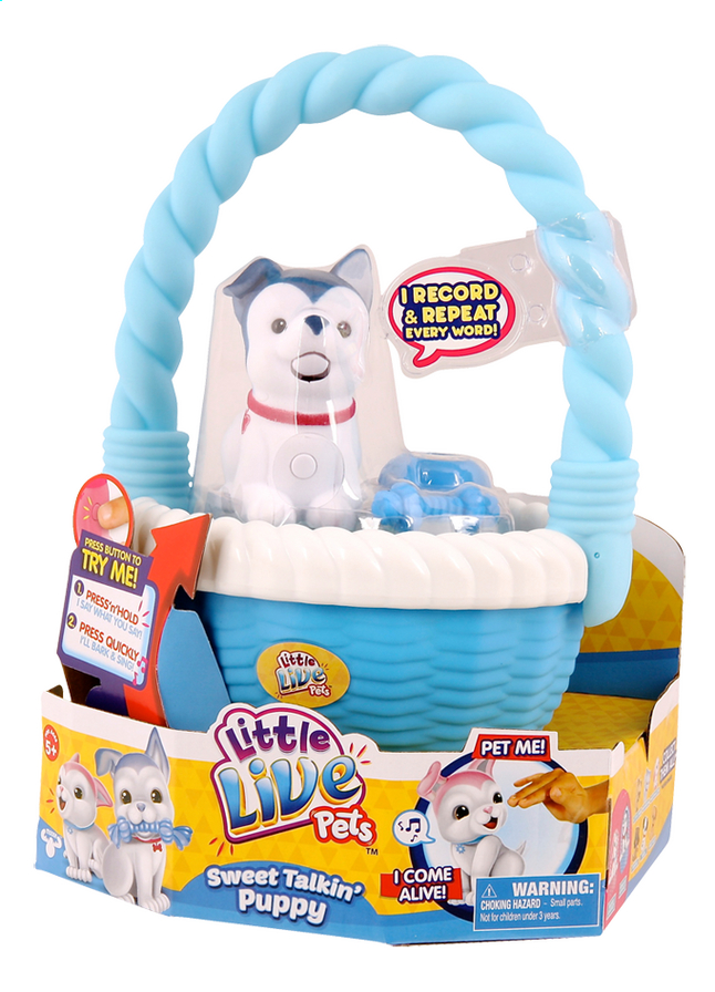 Afbeelding van Little Live Pets Sweet Talkin' Puppy with basket blauw from ColliShop