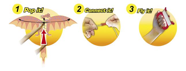 Image pour Cerf-volant Rhombus Dragon 3D vert à partir de ColliShop