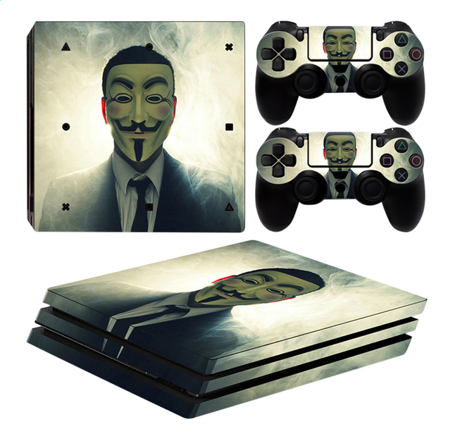 ps4 pro skins anonymous pour console 2 skins pour. Black Bedroom Furniture Sets. Home Design Ideas