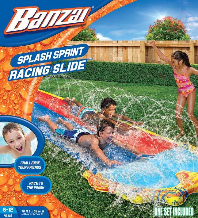 Banzai opblaasbare waterglijbaan Splash Sprint Racing Slide