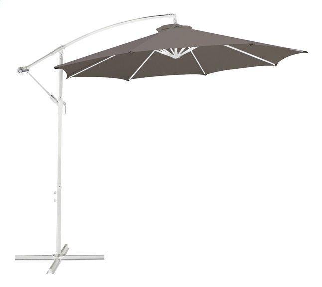 Parasol suspendu métal Ø 3 m taupe avec mât blanc