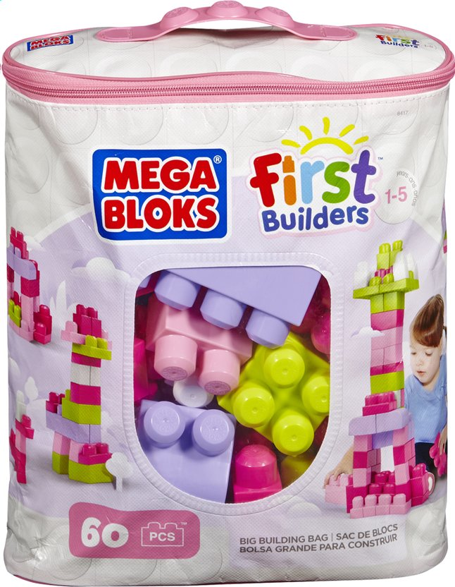 Afbeelding van Mega Bloks First Builders Big Building Bag roze from ColliShop