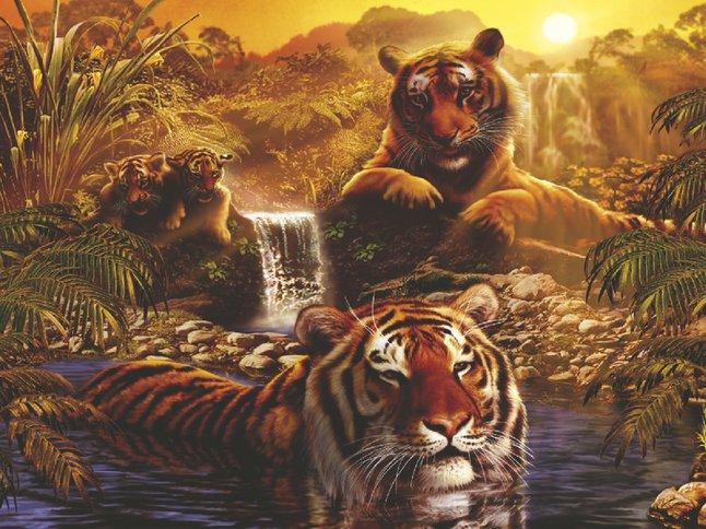 Image pour Ravensburger puzzle Le bain des tigres à partir de ColliShop