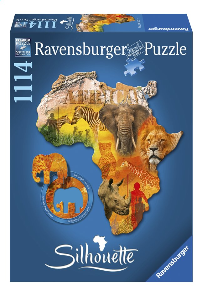 Afbeelding van Ravensburger puzzel Silhouette Afrikaans continent from ColliShop