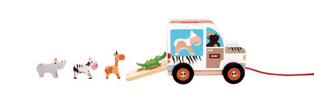 Scratch Europe houten trekspeeltje Sorteerwagen Safari