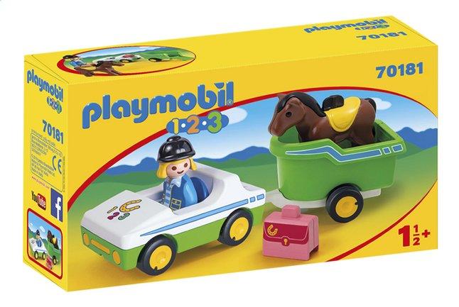 PLAYMOBIL 1.2.3 70181 Wagen met paardentrailer