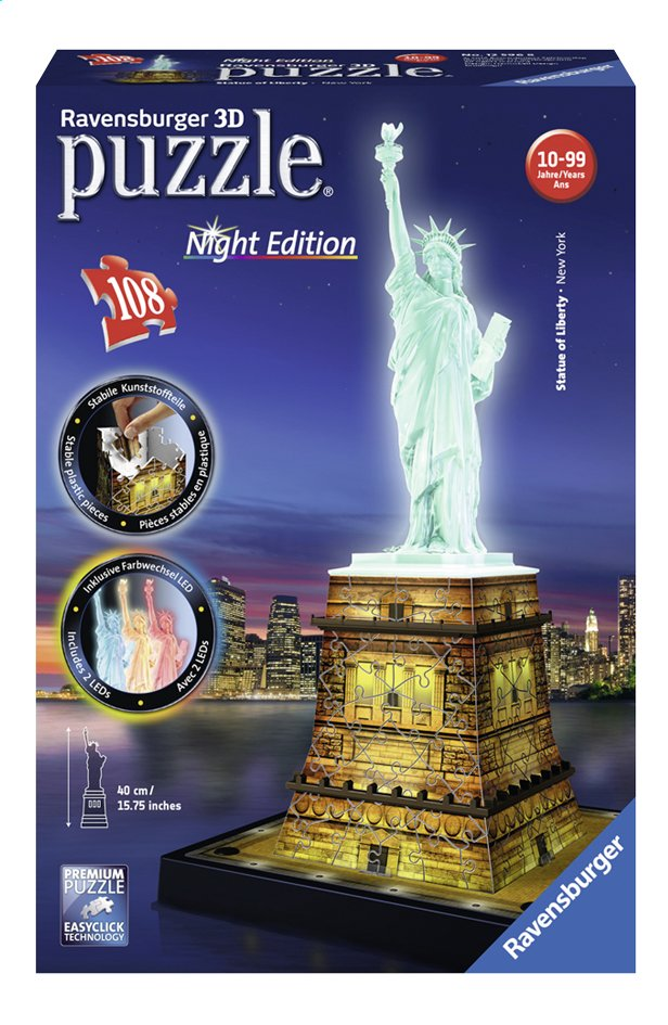 Afbeelding van Ravensburger 3D-puzzel Statue of Liberty-Night Edition from ColliShop